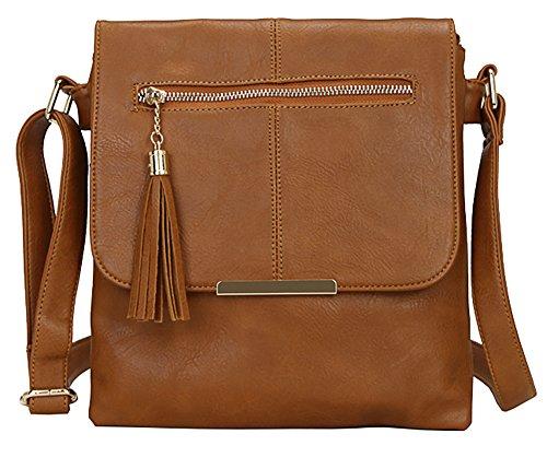 MODA Shop Cuerpo Big hombro Cruz bolso tamaño mediano Tan 3 Messenger para Bolsa mujer Design de nYYzrgw5q