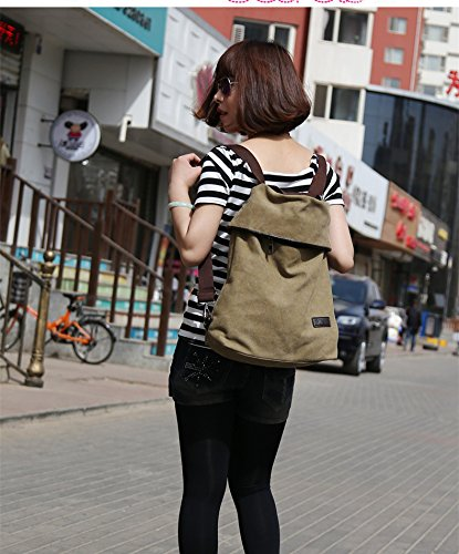 MOLLYGAN Multi-purpose Canvas Shoulder Bag Backpack School Bag Khaki by MOLLYGAN (Image #6)