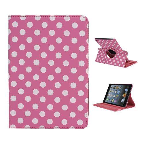 iPad Mini case,iPad Mini 2 Case,iPad Mini 3 Case FOGEEK Lovely Polka Dots Pattern 360 Rotating Swivel Stand Leather Case Cover for iPad Mini / Mini 2 / Mini 3 with Auto Sleep/Wake Function(Rose)