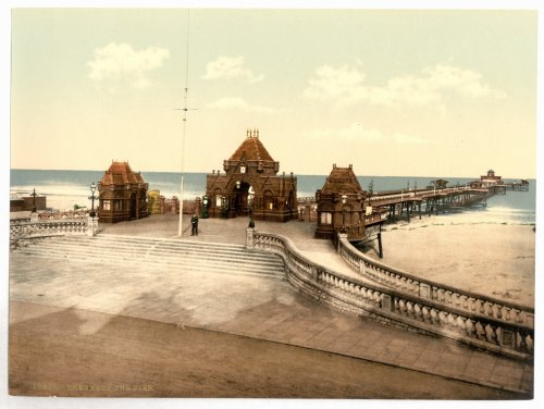 1890s photo The pier, Skegness, England. photochrom (also called the Aäc process) prints are colorized images produced from black and white photographic negatives via the direct photographic transfer of a negative on to lithographic printing plates. Vintage 8x10 Photograph - Ready to Frame