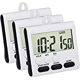 digital kitchen clock and timer - Mudder 3 Pack 24 Hours Magnetic Kitchen Timers with Digital Alarm Clock Timer, Loud Alarm and Big Screen (Black)