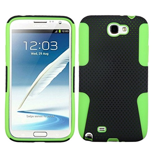 Asmyna ASAMGNIIHPCAST010NP Astronoot Premium Hybrid Case with Durable Hard Plastic Faceplate for Samsung Galaxy Note 2 - 1 Pack - Retail Packaging - Black/Electric Green