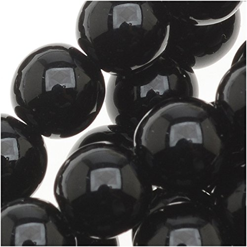 Czech Glass Druk Round Beads 6mm Jet Black (50) (Czech Glass 6mm Druk Beads)
