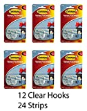 3M Small Clear Damage-Free Hanging Hooks (12 Hooks -24 Strips)