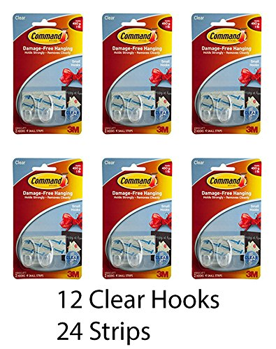 3M Small Clear Damage-Free Hanging Hooks (12 Hooks -24 Strips) by 3M