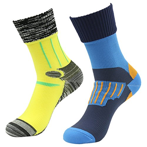 RANDY SUN Windproof Waterproof Socks, Men's 2 Pairs Breathable Membrance Best Socks Blue&Yellow Large ()