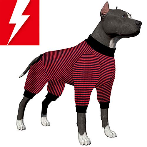 LovinPet Large Dog Pajamas/Boxer 100% Pure Cotton Red and Black Stripes Dog Shirt/4-Legs Design/Full Body Coverage Protection/for Big Dogs/Pitbull Shirt/Bulldog Pajamas/Boxer Pajamas