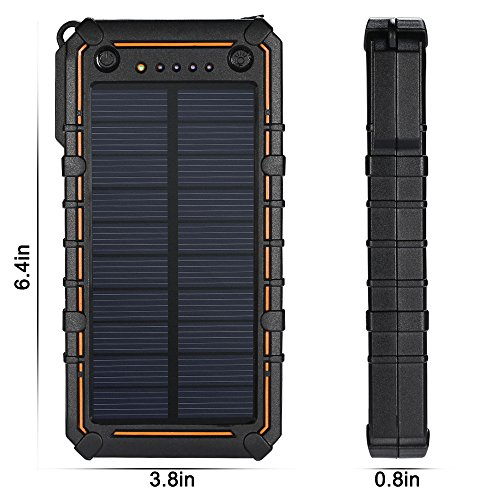 Solar-ChargerPortable-12000mAh-Dual-USB-Solar-Battery-Charger-External-Battery-Pack-Phone-Charger-with-hook-for-Outdoors-RainproofDust-proofShockproof