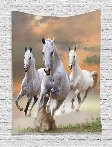 Tapestry Ambesonne Background Equestrian Champions