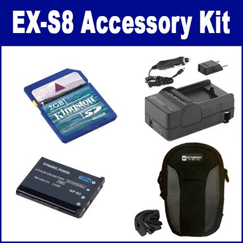 Casio Exilim EX-S8 Digital Camera Accessory Kit includes: KSD2GB Memory Card, SDC-22 Case, SDCANP80 Battery, SDM-196 Charger