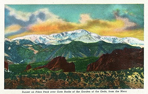 Colorado Springs, CO - Sunset View on Pikes Peak from Garden of the Gods Gate Rocks (12x18 Collectible Art Print, Wall Decor Travel (Sunset Over Pikes Peak)