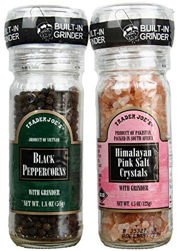 Trader Joe's Gourmet Set with Grinder Tops: Black Peppercorns with Pink Himalayan Salt Crystals by Turning to Wellness