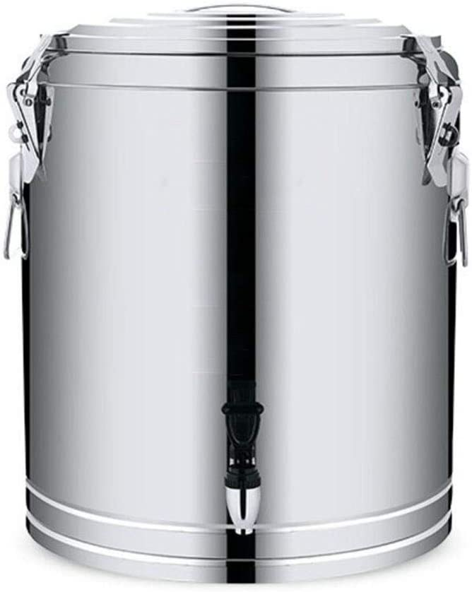 BLHZPD Barriles de Aislamiento Enfriadores de té comerciales de Gran Capacidad Cubos de té de Acero Inoxidable for familias (Color : Silver, Size : 30L)