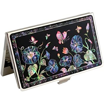 Business Credit Card Case Id Holder Metal Travel Wallet Mother of Pearl Celtic