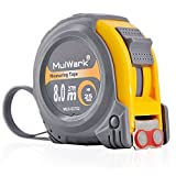 MulWark 27ft/8m Tape Measure by Imperial & Metric Scales with Thick Blade, Magnetic Hook and Shock Absorbent Case - Professional Measurement Tape for Construction, Contractor, Carpenter and DIYer