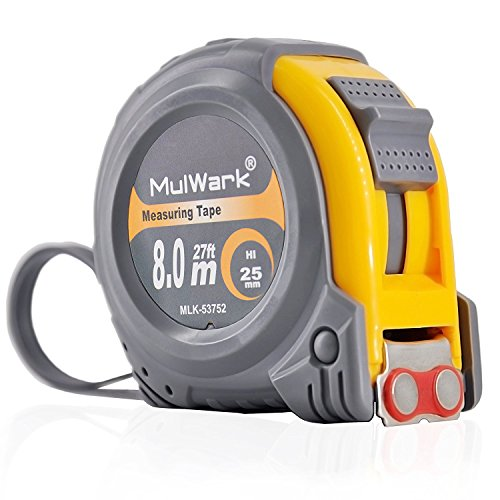 Metal Retractable Tape Measure (MulWark 27ft Measuring Tape Measure by Imperial Inch Metric Scale with Dual-side Metal Blade,Magnetic Tip Hook and Shock Absorbent Case-for Construction,Contractor,Carpenter,Architect,Woodworking)