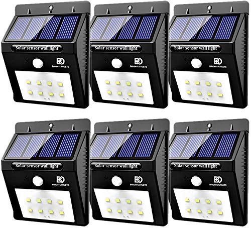 Solar Lights Outdoor, Motion Sensor Light 8 LED Flood Lights for Home Security, Patio, Wall, Pathway, Garden, Yard |Bright Waterproof Dusk to Dawn Lighting (6-Pack) (Pin Activation)