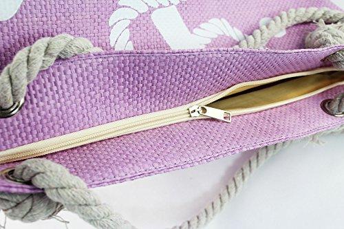 diverses Shopping de Femme 004 plage main 18 impressions poignées marin vacances cordes de de Filles achats sac piscine avec à Sac Pour raphia et sac grand de mer Sac Violet zip pochette 7qBA6Rx