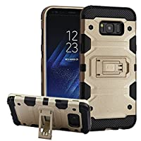 MyBat Cell Phone Case for Samsung Galaxy S8 Plus - Gold/Black Storm Tank