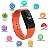 Fitness Activity Tracker with Heart Rate Monitor - Blood Pressure Monitor Smart Bracelet - Water Resistant Pedometer Alarm Sleep Monitor Smart Wristband with Weather Forecast for Men Women(Orange)