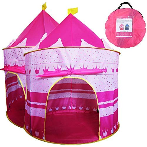 Play Tent | Pop-Up Little Princess Castle Indoor & Outdoor | Your Kids Will Enjoy This Pink Foldable Toy with Carry Case Pink