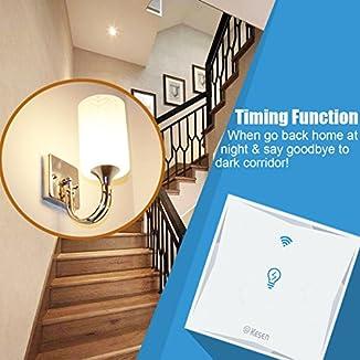 Inteligencia Wifi Interruptor FEYG Interruptor Inteligente Control de voz Amazon Alexa And Google Home,Pantalla táctil de vidrio templado,Control a distancia,Crear horarios (1 Gang)