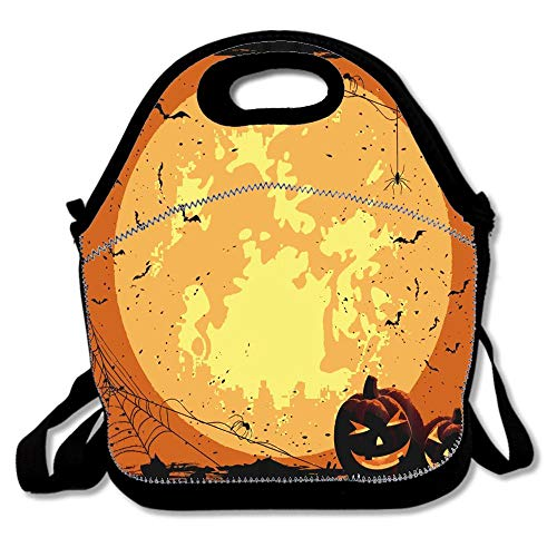 Halloween Full Moon Pumpkin Hand Lunch Bags Insulated Thermal Cooler Outdoor School Office Travel Picnic Lunch Box Tote Handbag Teens Kids -