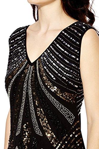 Mujer Años 1920 Estilo Vintage Charlestón Clásico Gatsby Abbey Flequillos Lentejuelas Con Cuentas Vestido Recto Negro