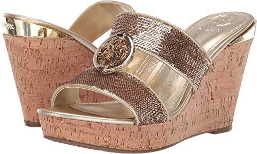 Metallic Guess Sandals (GUESS Women's Beanca Gold Multi 9.5 M US)