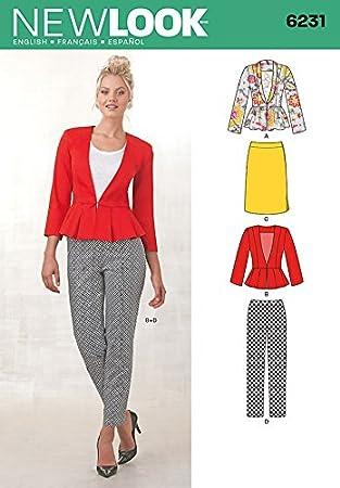 New Look Damen Schnittmuster 6231 Schößchen Jacken, Röcke und Hosen ...