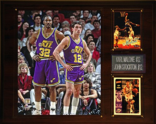 C&I Collectables NBA Utah Jazz Karl Malone- John Stockton Player Plaque, 12 x - Malone Jersey