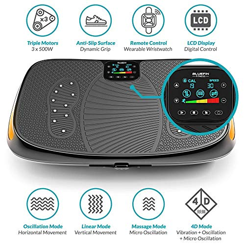 Bluefin Fitness 4D Triple Motor Vibration Plate | Powerful | Magnetic Therapy Massage | Curved Surface | 4.0 Bluetooth Speakers | Vibration Oscillation & Micro Vibration | 3 Silent Drive Motors by Bluefin Fitness (Image #2)