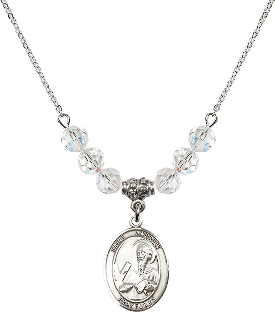 18-Inch Rhodium Plated Necklace with 6mm Crystal Birthstone Beads and Sterling Silver Saint Andrew the Apostle Charm.