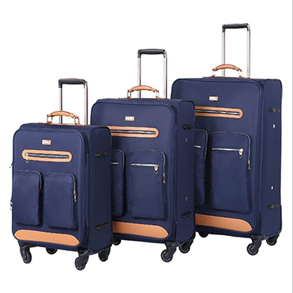 スーツケース TSAロックオックスフォードクロスソフトウェアキャリーバッグソフトシェル軽量サイレントローテーター多方向ホイール付きリトラクタブルカラム埋め込みセット あなたとスーツケースを持っていく (色 : 青, サイズ : 20in+24in+28in) B07SZTK29W 青 20in+24in+28in