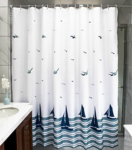 MangGou Fabric Shower Curtain,Nautical Sailing Boat Shower Curtain Liner,Waterproof Polyester Bathroom Curtain with 12 Hooks,Mildew Resistant,Machine Washable,Navy & White,72 x 72 -