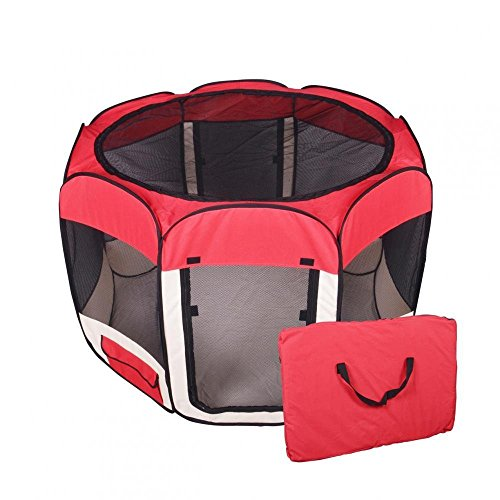 New Small Pet Dog Cat Tent Playpen Exercise Play Pen Soft Crate T08S Red by Love Pets Love