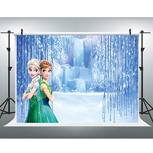 Elsa Birthday Party (Elsa and Anna Princess Photography Backdrop Happy Birthday for Girls Party Customized Vinyl Photo Background 7x5ft Wonderland Frozen Photo Background)