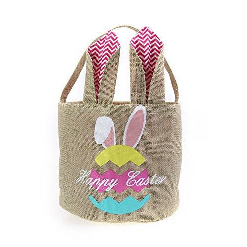 Easter Basket for Kids Bunny Bag for Easter Hunt,100% Ear Stand up(Egg-Pink) - Fabric Easter Basket
