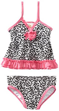ABSORBA Baby Girls' Swimsuit Two Piece, Black/White, 12