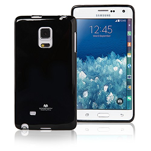 Galaxy Note Edge Case, [Ultra Slim Fit] Goospery [Note 4 Edge] Color Pearl Jelly CaseSlight Pearl Glitter [Anti-Yellowing + Anti-Discoloring Finish] Premium TPU Cover (Black) NT4E-JEL-BLK