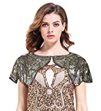 PrettyGuide Women's 1920s Shawl Bead Sequin Floral Embroidery Flapper Wedding Cape Gold