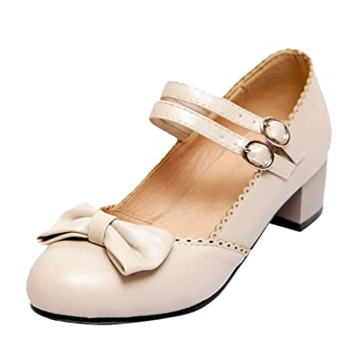 3c4fc95eb43 Latasa Women s Lolita Sweet Cute Bow Buckles Round-Toe Chunky Low-Heel Mary  Jandes