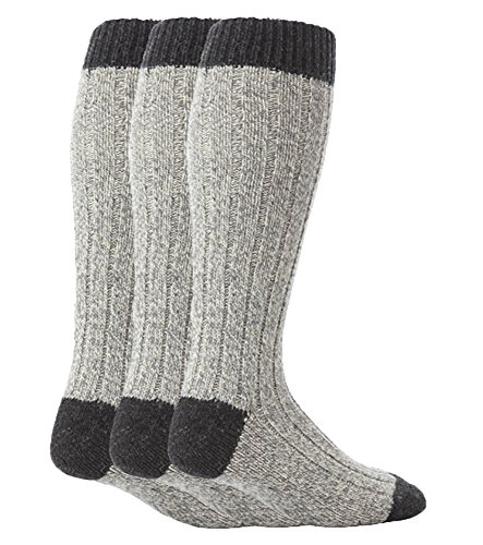 (Workforce - 3 Pairs Mens Extra Long Knee High Thick Warm Wool Rich Knitted Boot Socks (WFH0035GRY))
