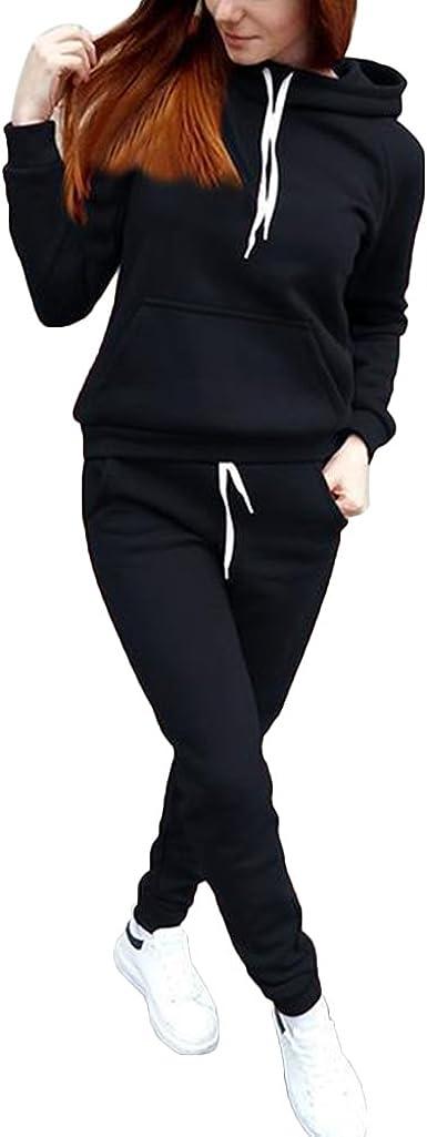 Women Tracksuit Hoodies Sweatshirt Pants Sets Gym Sport Jogging Loungewear Suit