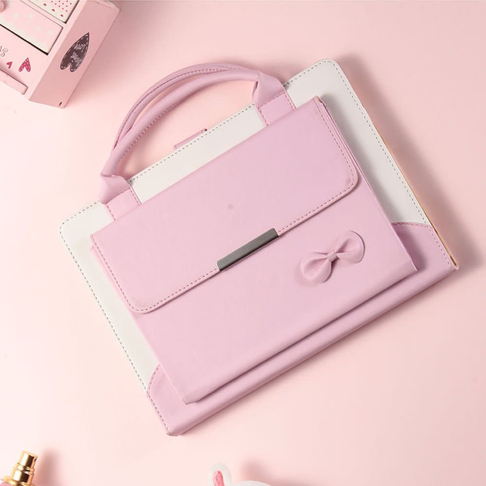 for iPad Pro 10.5 2017 Case,LAPOPNUT PU Leather Portable Handbag style Cute Bowknot Magnetic cover with Auto Sleep & Wake Feature Stand Flip Case Cover with Handle & Storage Compartment - Pink by LAPOPNUT