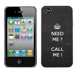 Paccase / SLIM PC / Aliminium Casa Carcasa Funda Case Cover para - Grey Call Need Me White Grey Text - Apple Iphone 4 / 4S