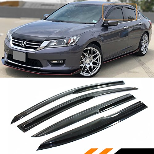 Cuztom Tuning FOR 2013-2017 9TH GEN HONDA ACCORD 4 DOOR SEDAN SMOKE WINDOW SUN VISOR RAIN GUARD ()