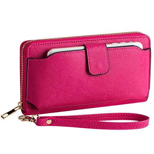 Heaye Wristlet Wallet with Cell Phone Holder for Iphone Samsung Cellphone Wallet Women Long Wallet RFID Blocking Zip Around Wallet 8.3 x 4.3