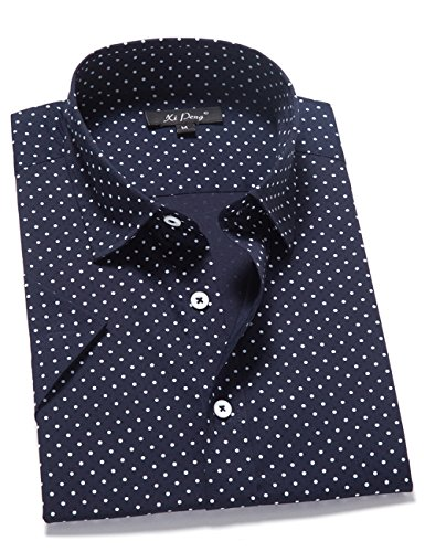 Navy Blue Polka Dot - XI PENG Men's Casual Dress Cotton Polka Dots Short Sleeve Fitted Button Down Shirts (Medium, Polka Dot-Navy Blue)