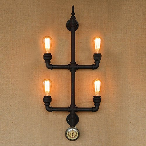HOMEE Wall lamp- american village loft retro long creative water pipe iron wall lamp industrial study bedroom bedside cafe wall lamp (style optional) --wall lighting decorations,4-HEAD by HOMEE